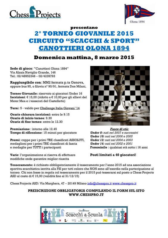 """2° TORNEO GIOVANILE 2015 CIRCUITO """"SCACCHI & SPORT"""" CANOTTIERI OLONA 1894"""