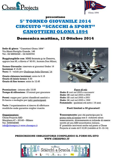 """5° TORNEO GIOVANILE 2014 CIRCUITO """"SCACCHI & SPORT"""" CANOTTIERI OLONA 1894"""