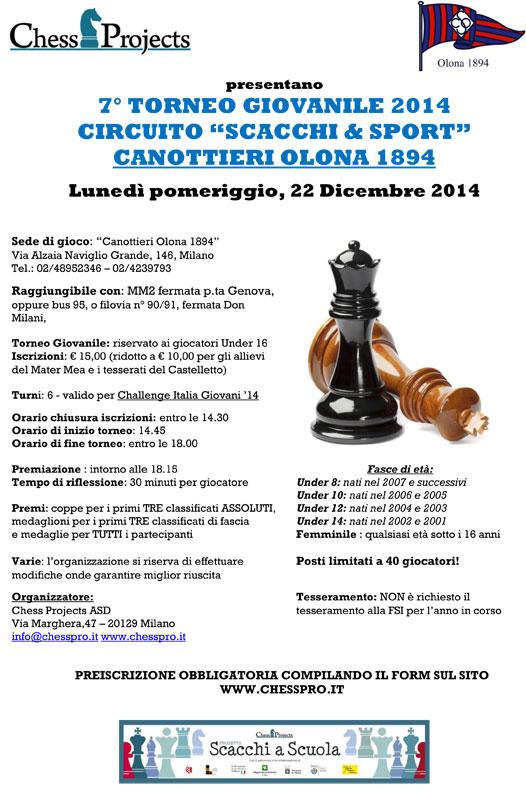 7° TORNEO GIOVANILE 2014 CIRCUITO SCACCHI & SPORT CANOTTIERI OLONA 1894