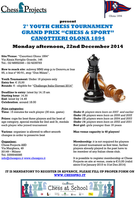 th YOUTH CHESS TOURNAMENTSCACCHI & SPORT CANOTTIERI OLONA 1894