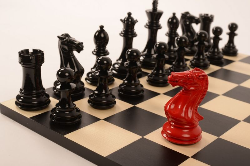 Bold Chess in Classic Red v Shadow Black close up 1 new