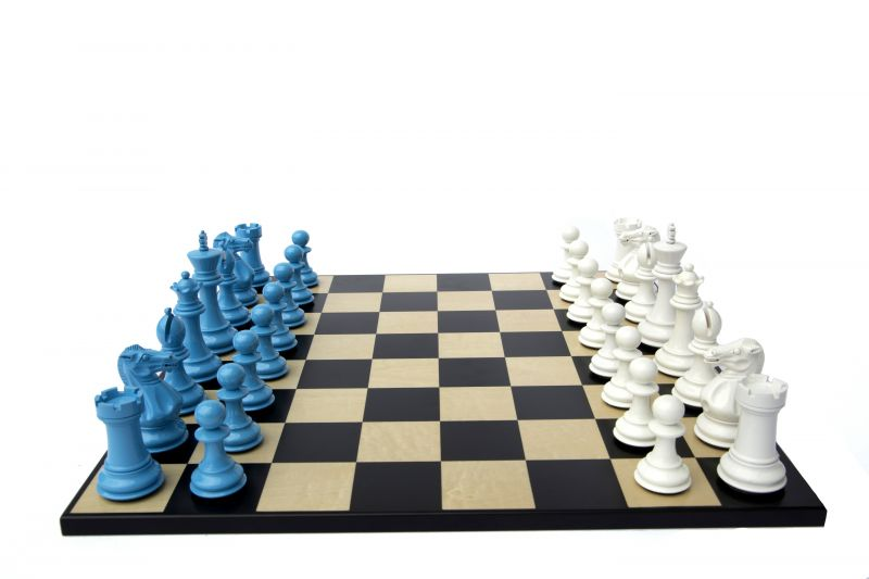 Bold Chess in Sky Blue & Gloss White 001