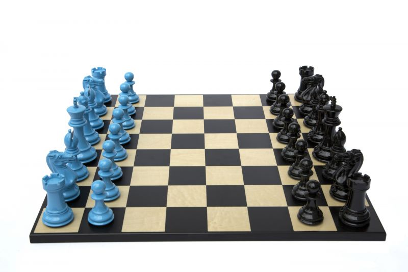 Bold Chess in Sky Blue & Shadow Black 001