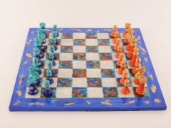 Art Chess by Michelle Hold Blue v Orange 001