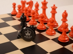 Bold Chess in Burnt Orange v Shadow Black close up 2