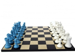 Bold Chess in Sky Blue & Gloss White 001