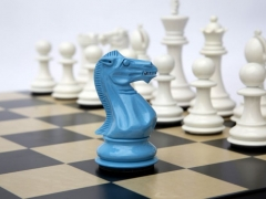 Bold Chess in Sky Blue & Gloss White 002