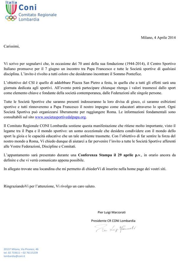 Lettera CONI - Comitato Regionale Lombardia