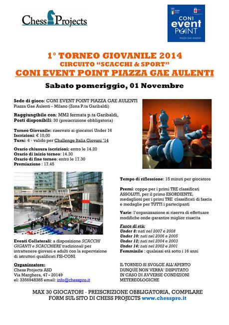 """1° TORNEO GIOVANILE 2014 CIRCUITO """"SCACCHI & SPORT"""" GAE AULENTI SQUARE"""