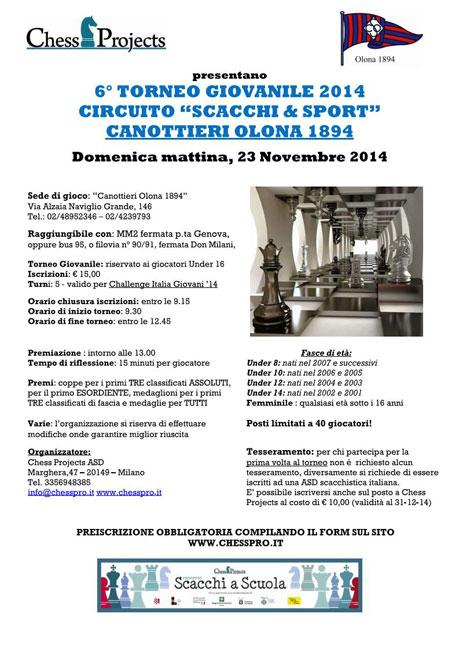 """6° TORNEO GIOVANILE 2014 CIRCUITO """"SCACCHI & SPORT"""" CANOTTIERI OLONA 1894"""