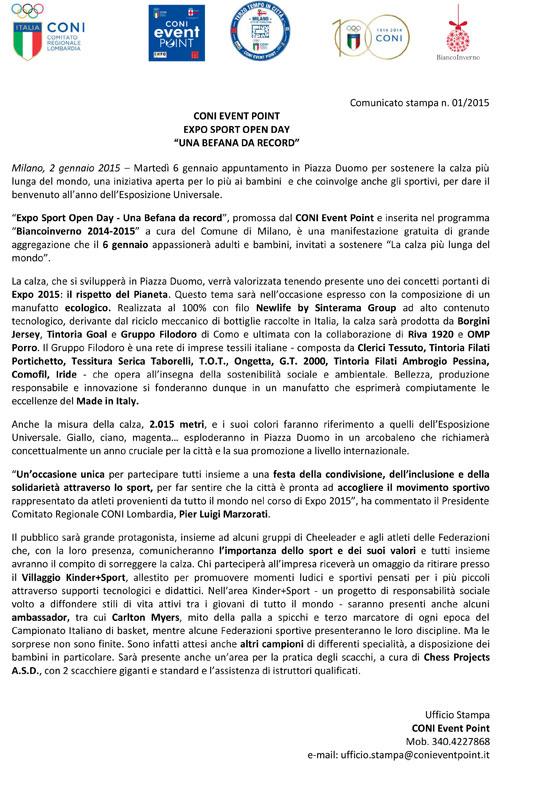"""CONI EVENT POINT EXPO SPORT OPEN DAY - """"UNA BEFANA DA RECORD"""""""