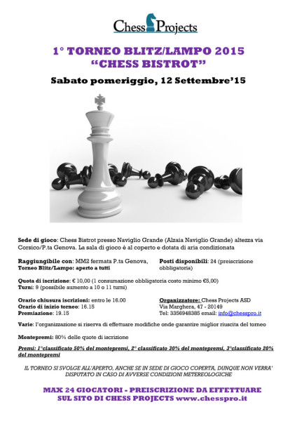 "1° TORNEO BLITZ/LAMPO 2015 ""CHESS BISTROT"""