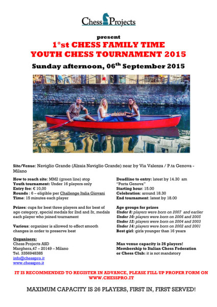 1st CHESS FAMILY TIME YOUTH CHESS TOURNAMENT 2015