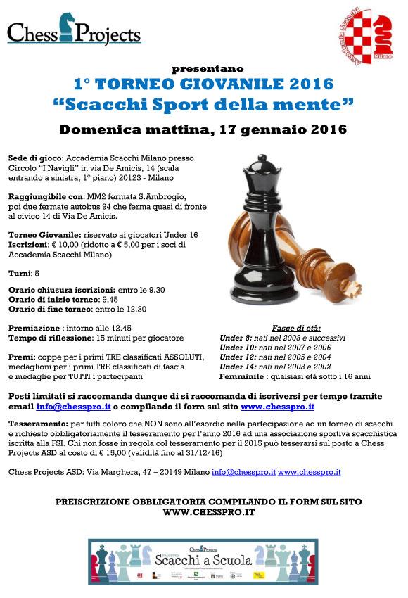 """1° TORNEO GIOVANILE 2016 """"Scacchi Sport della mente"""""""