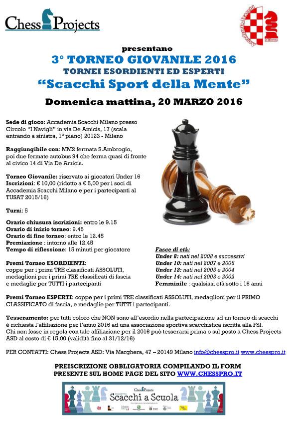 """3° TORNEO GIOVANILE 2016 """"Scacchi Sport della mente"""""""