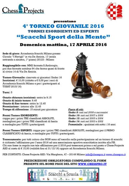 """4° TORNEO GIOVANILE 2016 """"Scacchi Sport della mente"""""""