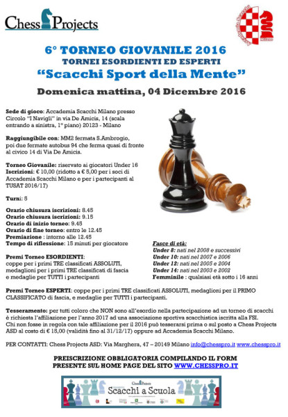 6° TORNEO GIOVANILE 2016 Scacchi Sport della mente