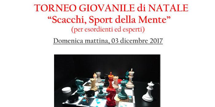 """TORNEO GIOVANILE di NATALE """"Scacchi, Sport della Mente"""""""