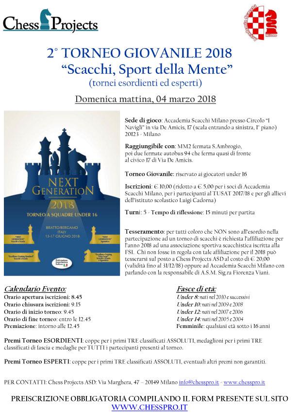Calendario Tornei Scacchi.2 Torneo Giovanile 2018 Scacchi Sport Della Mente Asd