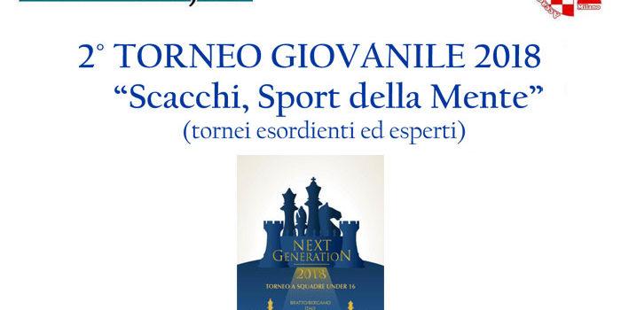 """2° TORNEO GIOVANILE 2018 """"Scacchi, Sport della Mente"""""""