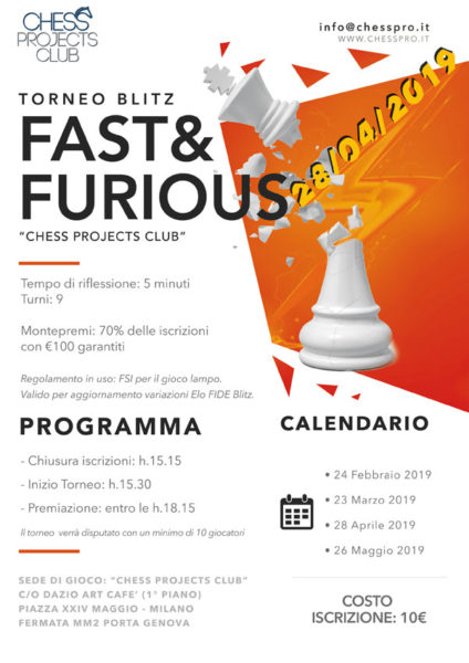 Tornei Blitz Fast&Furious Chess Projects Club 2019