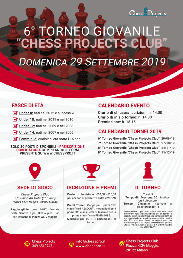 6° TORNEO GIOVANILE CHESS PROJECTS CLUB