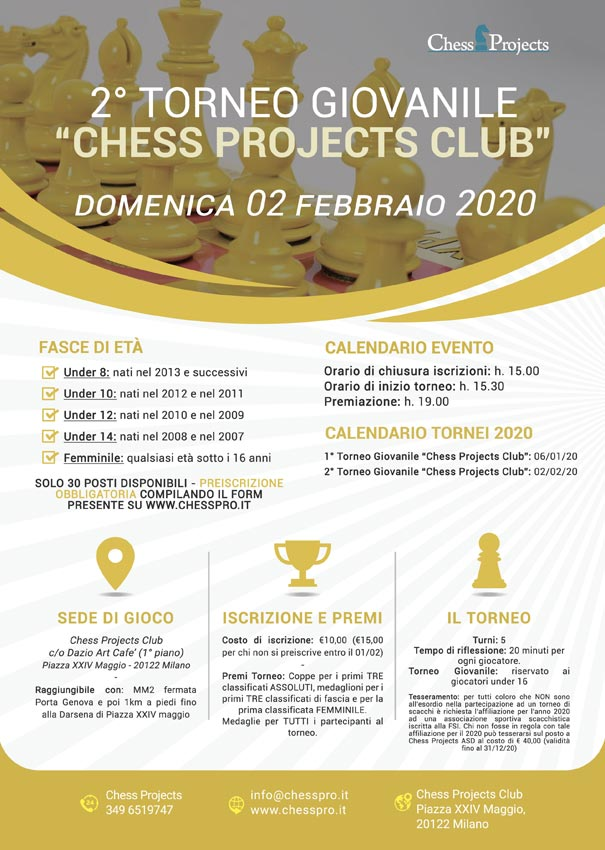 2° TORNEO GIOVANILE CHESS PROJECTS CLUB 2020
